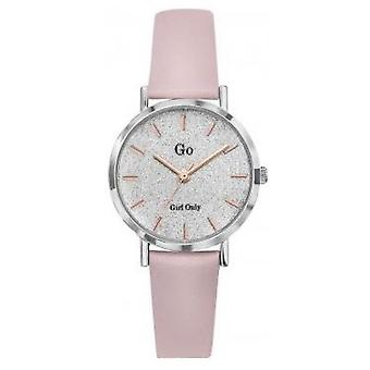 Go Girl Only Watch 699898 - Pink Leather Bracelet Silver Steel Dial Clat Women's