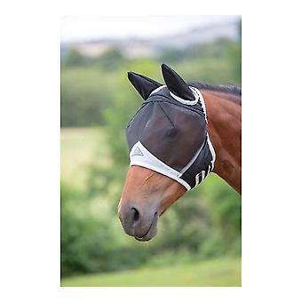Shires Fine Mesh Fly Mask with Ears - Zwart
