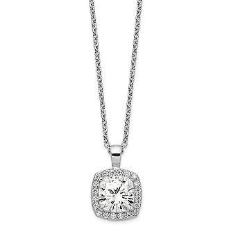 Cheryl M 925 Sterling Silver CZ Cubic Zirconia Simulated Diamond Square 18 In Necklace 18 Inch Jewelry Gifts for Women
