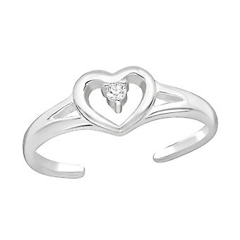 Heart - 925 Sterling Silver Toe Rings - W21061x