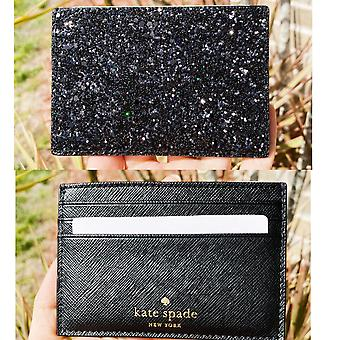 Kate spade greta court graham black glitter card holder wallet
