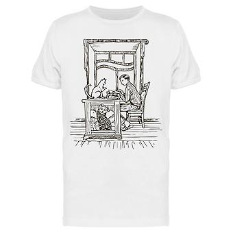 Typewriting With Cats On Desk Tee Men's -Image by Shutterstock