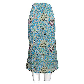 Serengeti Skirt Printed Leaf Pattern With Side Stripe Panel Blue