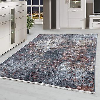 Modern Salon Tapis Multi Vintage Shortflor Look Look Coloré