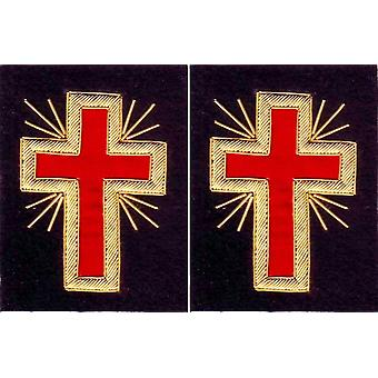 Knights templar sleeve crosses - bullion embroidery