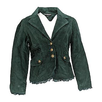 Pyramid Collections Women's Blazer Lace Trim Dark Green