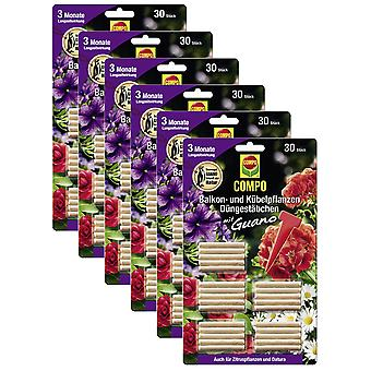 Sparset: 6 x COMPO balcony and potted plants Fertilizer sticks with guano, 30 pieces