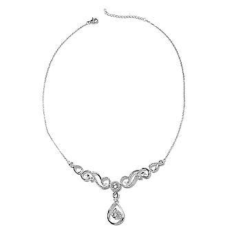 J Francis - Kristal van Swarovski White Crystal Ketting in Rhodium Over Silver