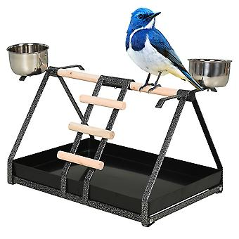 PawHut Portable Bird Stand Resting w/ Stainless Steel Base Wood Perch Ladder Feeding Bowls Training Playground Macaw Parrot Conure Pet