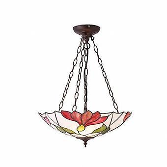 3 ljus inverterad tak hänge mörk brons, Tiffany glass