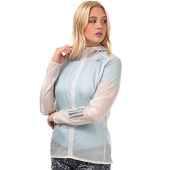 Frauen's adidas Own The Run Hooded Wind Jacket in Weiß