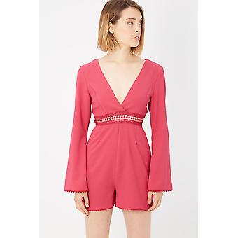 Please Rosa Fuchsia Long Sleeve Playsuit