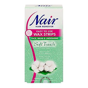 Nair hair removal easy to use wax strips soft touch with cotton seed oil 34 no heat strips