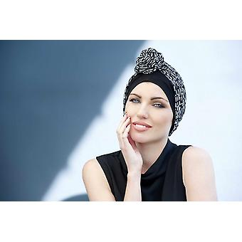 Black chemo headwear for women - Daisy Black and White Crystal