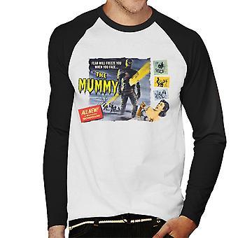 Hammer Horror Films Mummy Fear Will Freeze You Men's Baseball Long Sleeved T-Shirt