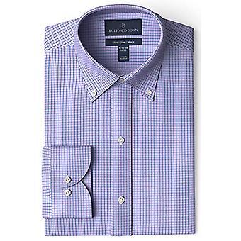 ボタンダウンメン&アポス;sスリムフィットボタンカラーパターンノンアイアンドレスシャツ、Purp..