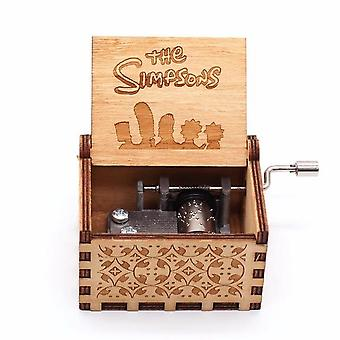 Hand Crank Engraved Wood Musical Box - The Simpsons
