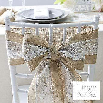 Natural Vintage Burlap Chair, Sashes Lace Jute Chair Tie Bow For Rustic Wedding