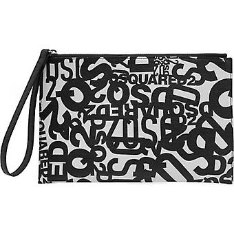 Dsquared2 Leather Multi Logo Clutch Bag
