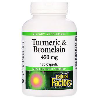 Natural Factors, Turmeric & Bromelain, 450 mg, 180 Capsules