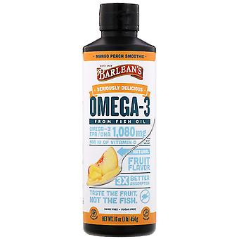 Barlean's, Seriously Delicious, Omega-3 Fish Oil, Mango Peach Smoothie, 16 oz (4