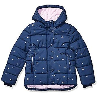 Essentials Girls' Big Heavy-Weight Hooded Puffer Coat, Navy with Foil ...