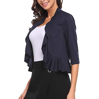 Women's 3/4 Sleeve Cropped Bolero Shrug Open Front Cardigan (Blue, XX-Large)