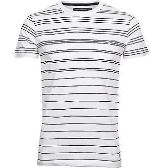 French Connection Raidallinen Crew-Neck Pocket T-paita, Valkoinen/navy