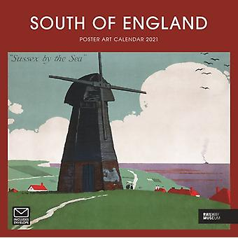 South of England Poster Art National Railway Museum Square Wiro Wall Calendar 2021