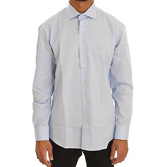 Cavalli Blue Cotton Slim Fit Dress Shirt TSH1478-2