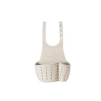 Adjustable Snap Type Sink Drain Storage Basket Beige 12x5x25cm