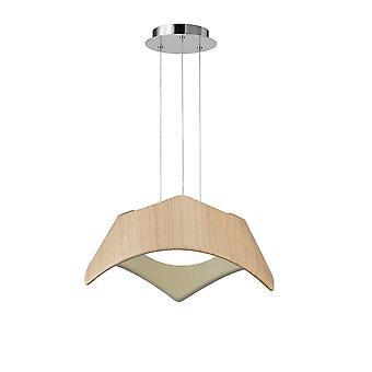 Inspired Mantra - Maui - Ceiling Pendant 3 Light E27, Beech, Polished Chrome