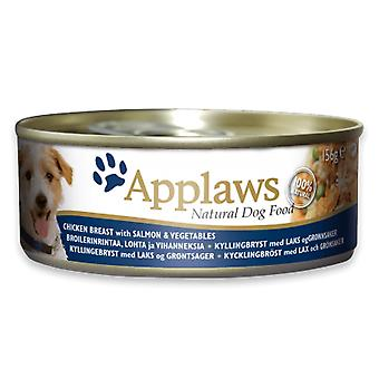 12 x 156g Applaws Natural Dog Pet Wet Food Chicken Natural Meat Zalm vis