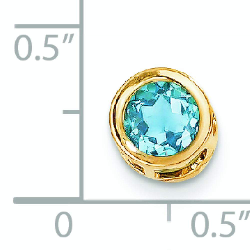 14k Yellow Gold Polished Open back 6mm Blue Topaz Bezel Pendant Necklace Jewelry Gifts for Women