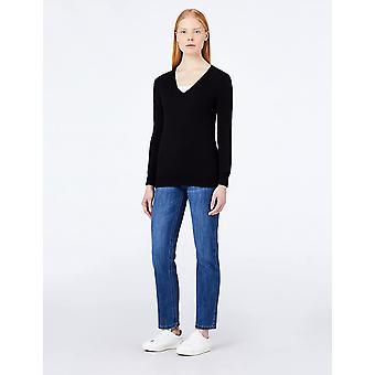 MERAKI Women's Cotton V Neck Sweater, (Zwart), EU S (US 4-6)