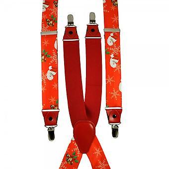 Krawatten Planet Weihnachtsmann, Schneeflocken, Holly & Glocken rot Weihnachten Hosenträger