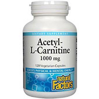 Luonnolliset tekijät Asetyyli-L-karnitiini, 1000 mg, 60 Veg Caps
