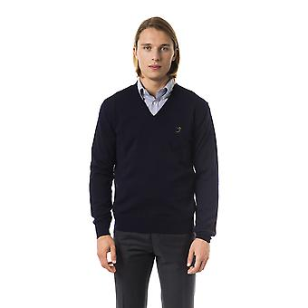 Uominitaliani Long Sleeve Embroidered V-Neck Blue Sweater