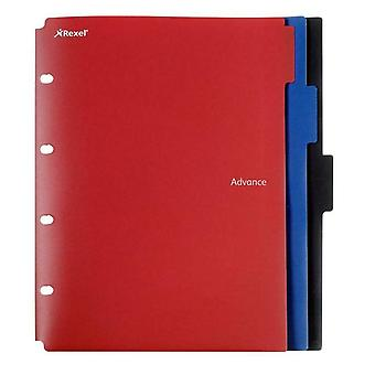 Rexel A4 Advance 2 Pocket Dividers Wallet File Folder Red Black Blue - Pack of 3