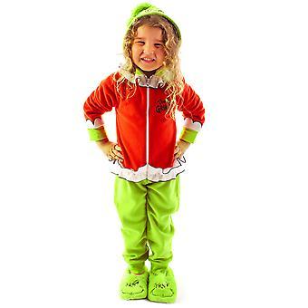 The Grinch Onesie Para Niños Niñas y niños todos en un pijama Grinch Traje de vellón con capucha 3D verde y rojo para niños ? Juego de pj de noche de Navidad