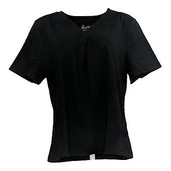 Denim & Co. Femmes's Top Perfect Jersey Plissé V-Neck Noir A378204
