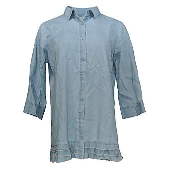 Joan Rivers Classics Collection Women's Top Ruffled Chambray Blue A301805