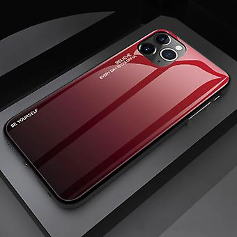 Stoff zertifiziert® iPhone 12 Pro Max Case Gradient - TPU und 9H Glas - stoßfest glänzende Fall Abdeckung Cas TPU rot