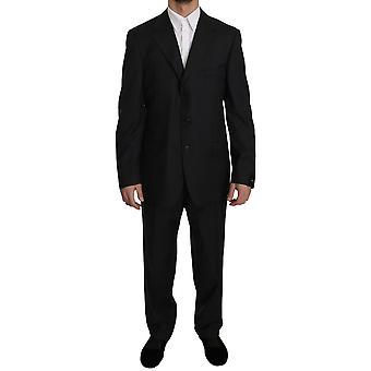 Z ZEGNA Dark Gray Stripe Two Piece 3 Button Wool Suit