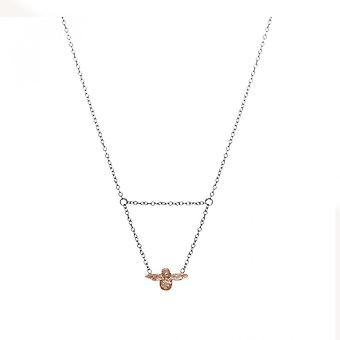 Olivia Burton Obj16amn11 3d Bee Drop Collier Argent & Rose Or