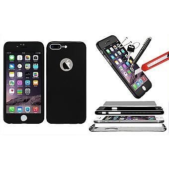 Hybrid 360 Shockproof Case Tempered Glass Cover For iPhone 7 Plus - Black