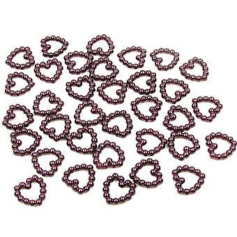 Viininpunainen helmi sydän muoto helmi kaksipuolinen 11mm. 50 metrin pakkaus