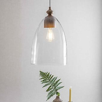 Garden Trading Bloomsbury Large Pendant Light In Clear Glass & Ash Wood