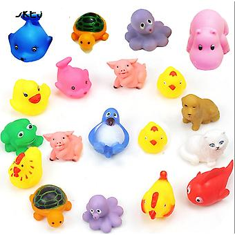 10pcs Wash Play Animals, Soft Rubber Float Sqeeze Sound Bath For Toddlers