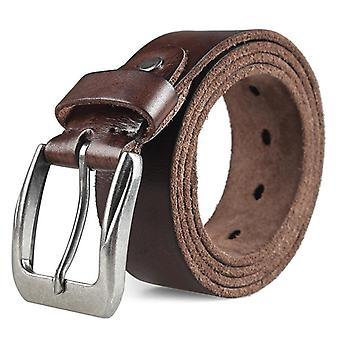 Men Top Layer Leather Casual Belt, Vintage Design Pin Buckle Genuine Original